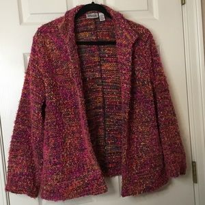 Chico's Design Pink Multicolor Boucle Jacket - L